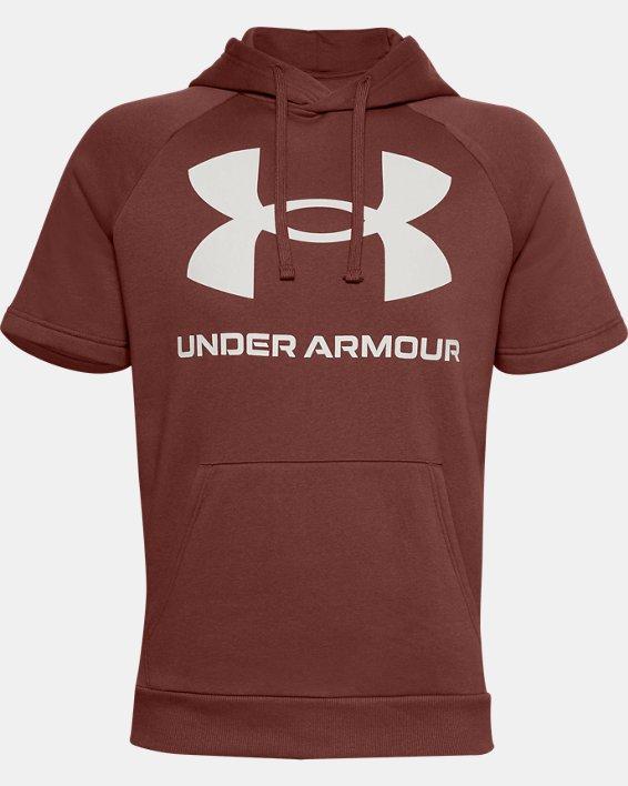 Men's UA Rival Fleece Big Logo Short Sleeve Hoodie, Red, pdpMainDesktop image number 4