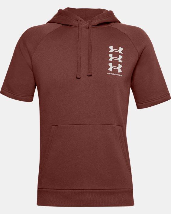 Men's UA Rival Fleece Multilogo Short Sleeve Hoodie, Red, pdpMainDesktop image number 4