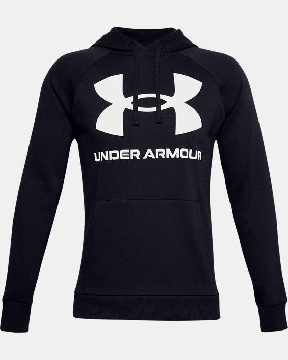 Men's UA Rival Fleece Big Logo Hoodie, Black, pdpMainDesktop image number 4