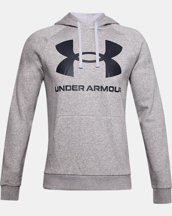 Men's UA Rival Fleece Big Logo Hoodie, Gray, pdpMainDesktop image number 0