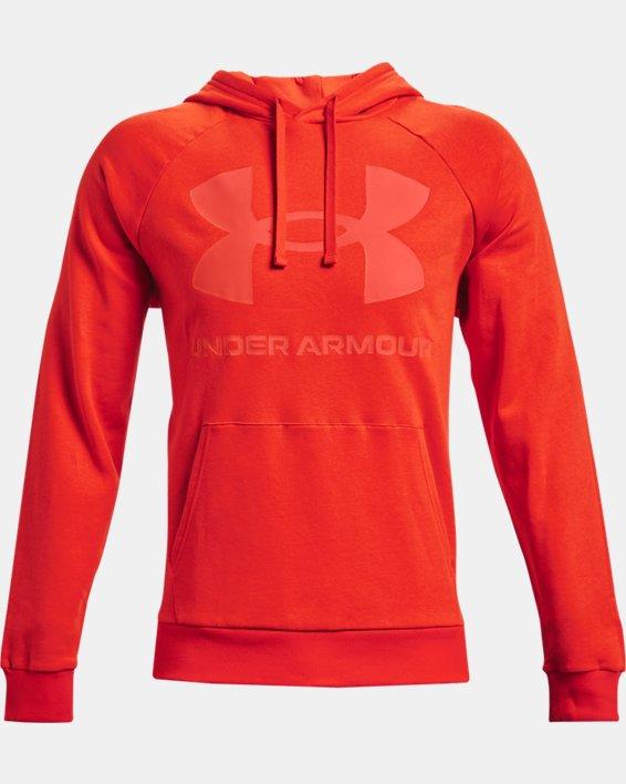 Sweat à capuche UA Rival Fleece Big Logo pour homme, Orange, pdpMainDesktop image number 4