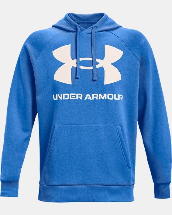 Men's UA Rival Fleece Big Logo Hoodie, Blue, pdpMainDesktop image number 4