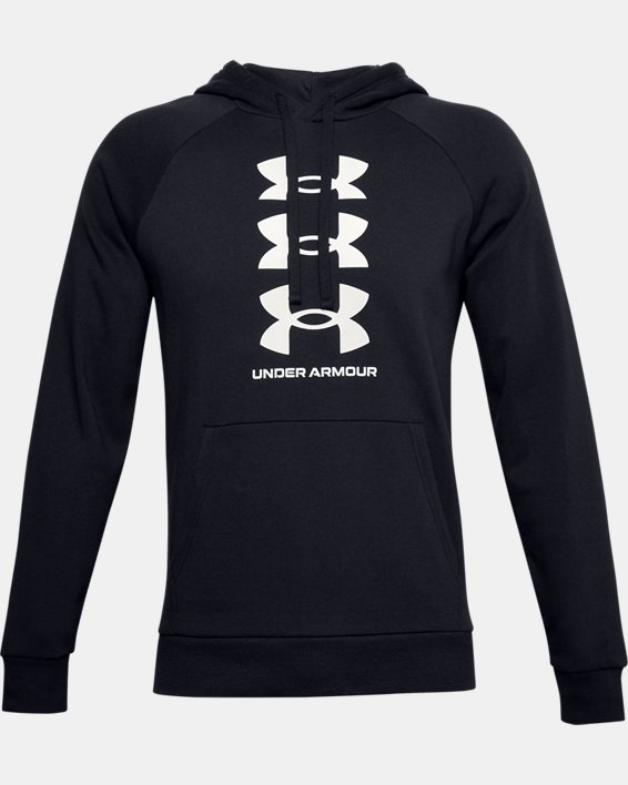 Men's UA Rival Fleece Multilogo Hoodie, Black, pdpMainDesktop image number 4