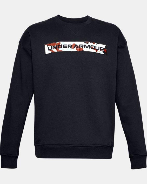 Men's UA Rival Fleece Camo Wordmark Crew, Black, pdpMainDesktop image number 4