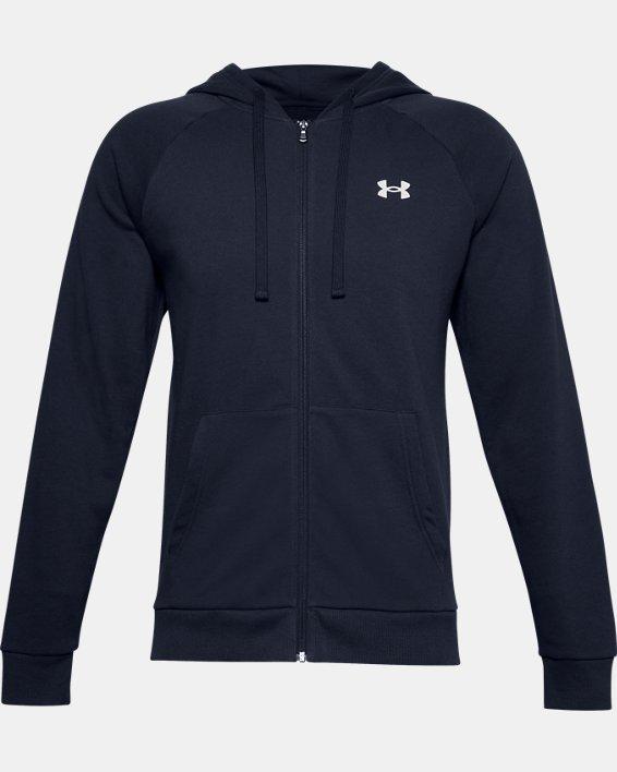Men's UA Rival Cotton Full Zip Hoodie, Navy, pdpMainDesktop image number 5