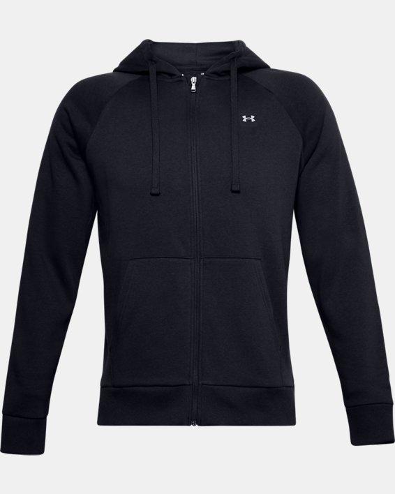 Men's UA Rival Fleece Full Zip Hoodie, Black, pdpMainDesktop image number 3