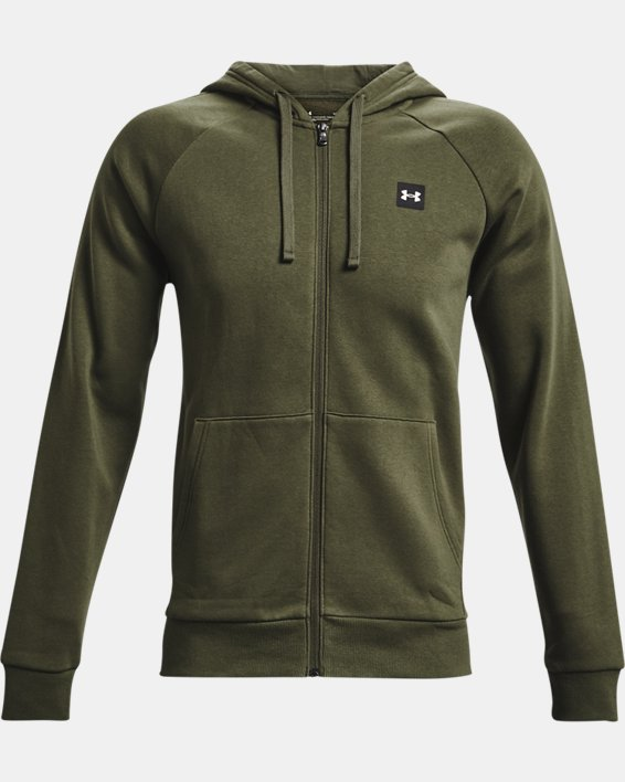 Men's UA Rival Fleece Full Zip Hoodie, Green, pdpMainDesktop image number 3