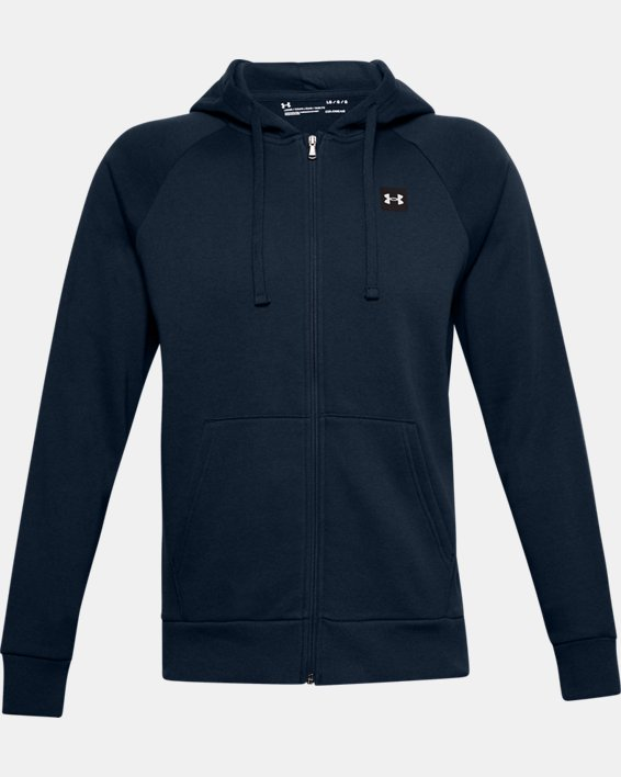 Men's UA Rival Fleece Full Zip Hoodie, Navy, pdpMainDesktop image number 4