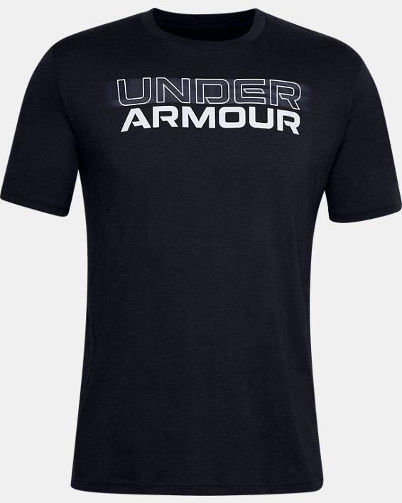 Men's UA Blurry Logo Wordmark Short Sleeve, Black, pdpMainDesktop image number 4