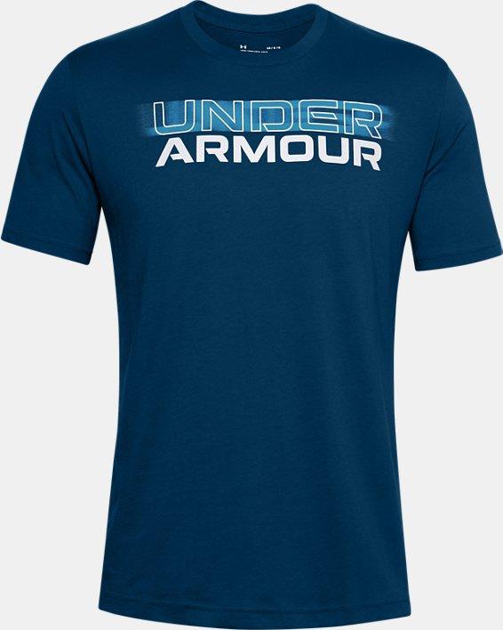 T-shirt à manches courtes UA Blurry Logo Wordmark pour homme, Blue, pdpMainDesktop image number 4
