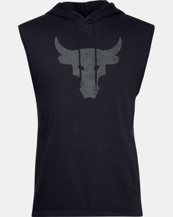Men's Project Rock Charged Cotton® Sleeveless Hoodie, Black, pdpMainDesktop image number 4