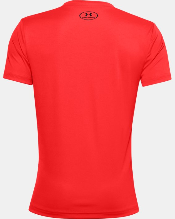 Boys' UA Tech™ Lockup Stripe Short Sleeve, Red, pdpMainDesktop image number 1