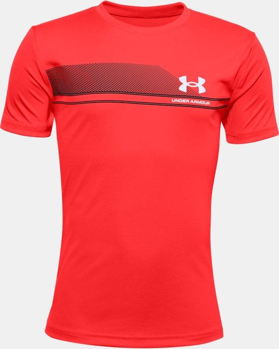 Boys' UA Tech™ Lockup Stripe Short Sleeve, Red, pdpMainDesktop image number 0