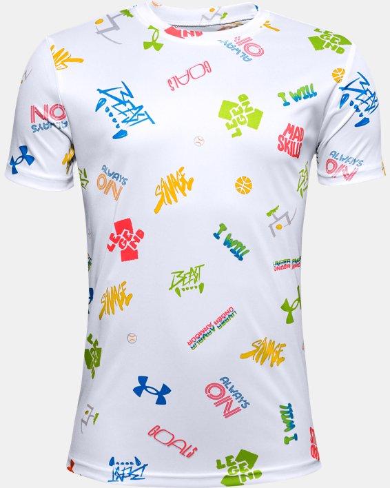 Boys' UA Tech™ Verbiage Short Sleeve, White, pdpMainDesktop image number 0