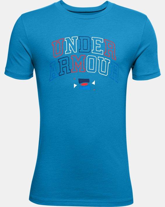 Boys' UA Multicolor Wordmark T-Shirt, Blue, pdpMainDesktop image number 0