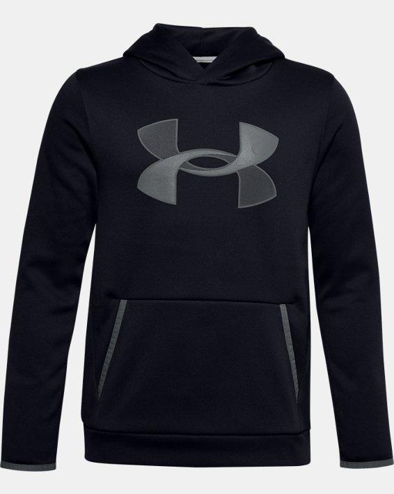 Felpa con cappuccio Armour Fleece® Big Logo da ragazzo, Black, pdpMainDesktop image number 0