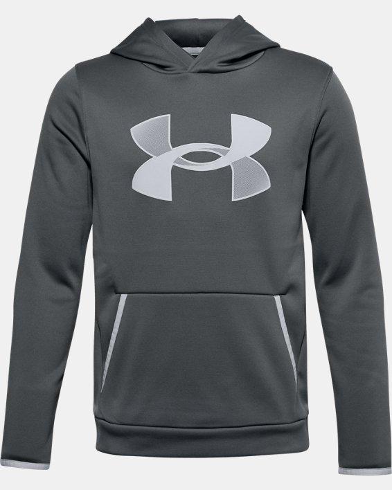 Boys' Armour Fleece® Big Logo Hoodie, Gray, pdpMainDesktop image number 0