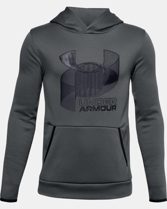 Boys' Armour Fleece® Multilogo Hoodie, Gray, pdpMainDesktop image number 0
