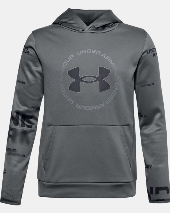 Boys' Armour Fleece® Branded Hoodie, Gray, pdpMainDesktop image number 0