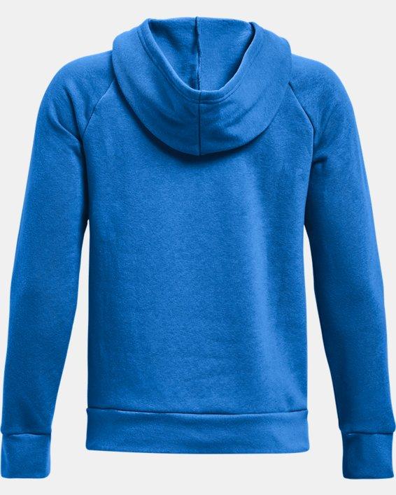 Boys' UA Rival Fleece Big Logo Hoodie, Blue, pdpMainDesktop image number 1