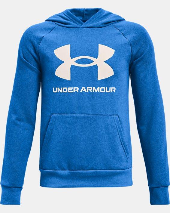 Boys' UA Rival Fleece Big Logo Hoodie, Blue, pdpMainDesktop image number 0