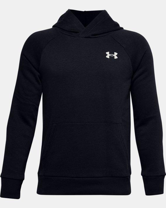 Boys' UA Rival Cotton Hoodie, Black, pdpMainDesktop image number 0