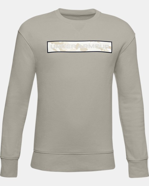 Boys' UA Rival Fleece Crew, White, pdpMainDesktop image number 0