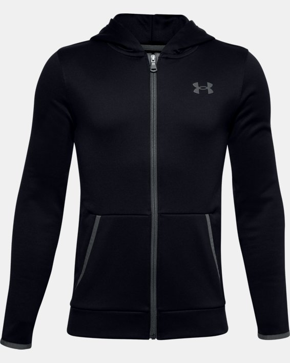 Boys' Armour Fleece® Full Zip, Black, pdpMainDesktop image number 0