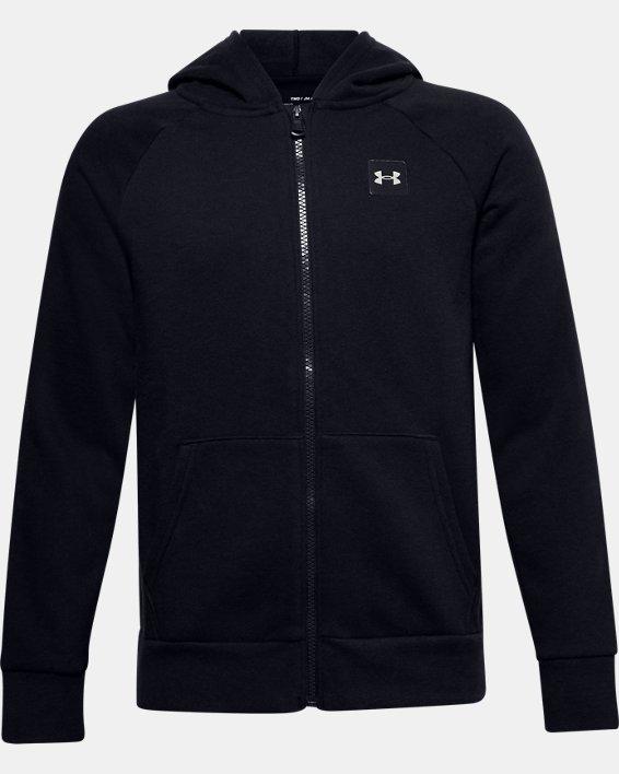Boys' UA Rival Fleece Full Zip Hoodie, Black, pdpMainDesktop image number 0