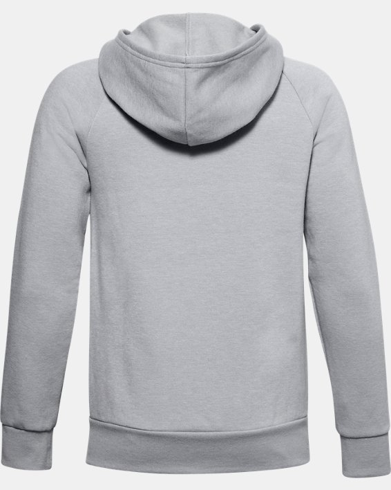 Boys' UA Rival Fleece Full Zip Hoodie, Gray, pdpMainDesktop image number 1