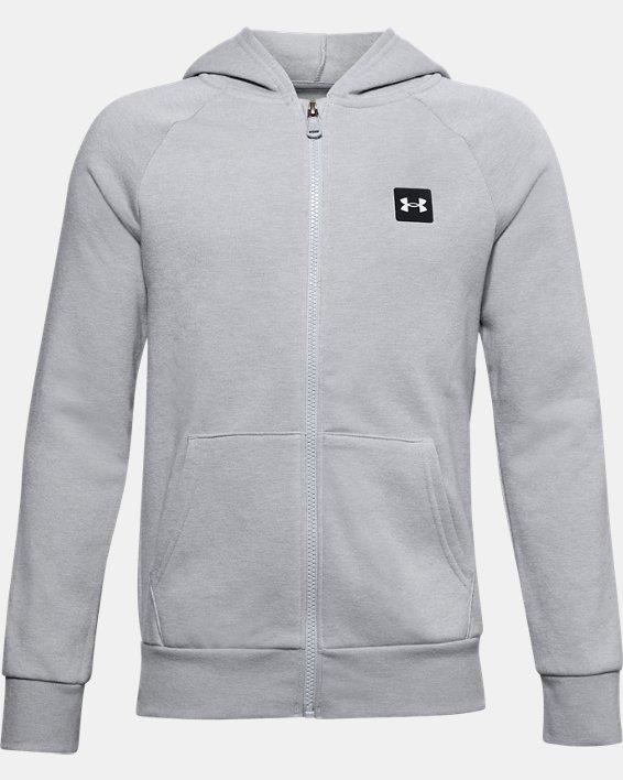 Boys' UA Rival Fleece Full Zip Hoodie, Gray, pdpMainDesktop image number 0