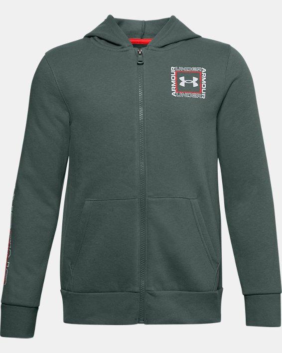 Boys' UA Rival Fleece Graphic Full Zip Hoodie, Blue, pdpMainDesktop image number 0
