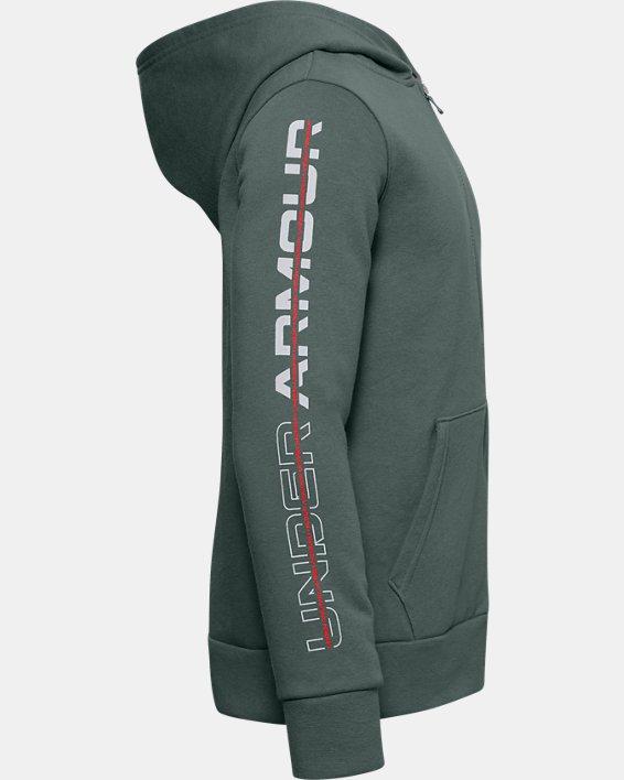 Boys' UA Rival Fleece Graphic Full Zip Hoodie, Blue, pdpMainDesktop image number 2
