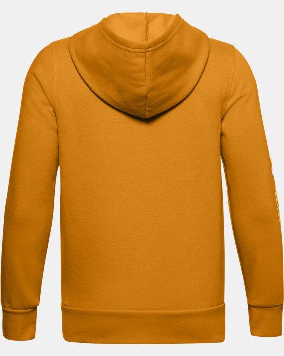 Boys' UA Rival Fleece Graphic Full Zip Hoodie, Yellow, pdpMainDesktop image number 1
