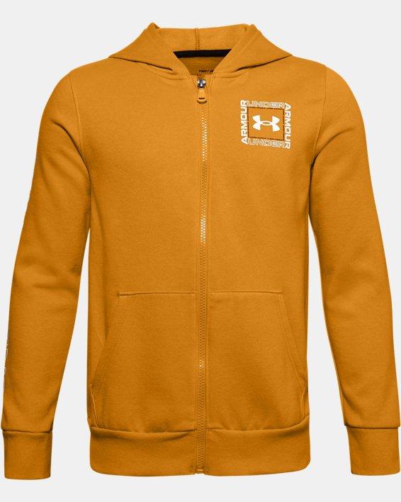 Boys' UA Rival Fleece Graphic Full Zip Hoodie, Yellow, pdpMainDesktop image number 0