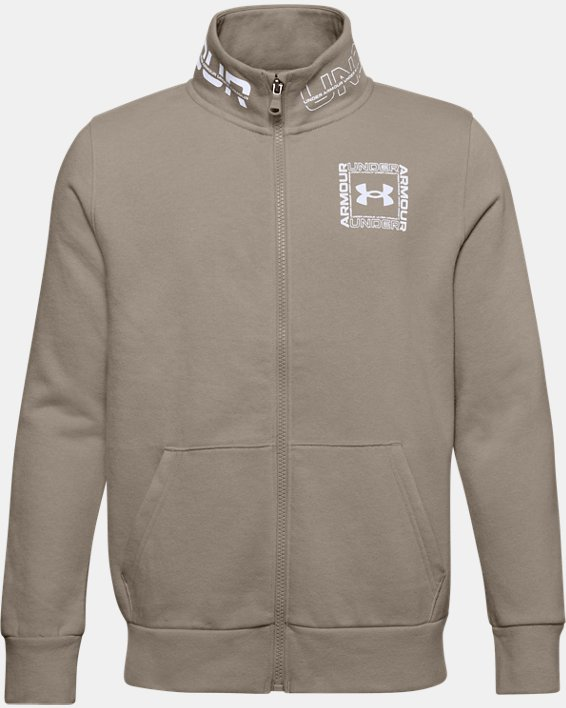 Boys' UA Rival Fleece Full Zip Jacket, Brown, pdpMainDesktop image number 0