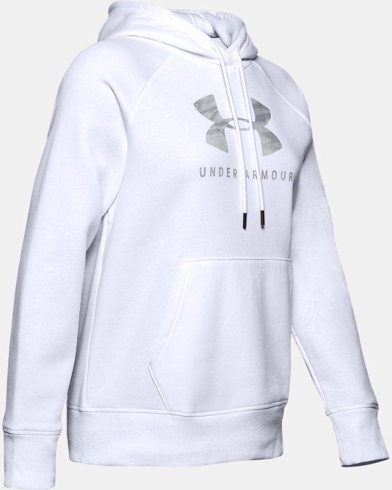 Women's UA Rival Fleece Dockside Hoodie, White, pdpMainDesktop image number 4