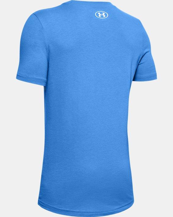 Boys' UA Football Stadium Logo Short Sleeve, Blue, pdpMainDesktop image number 1