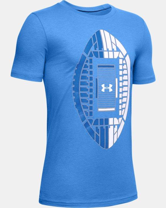 Boys' UA Football Stadium Logo Short Sleeve, Blue, pdpMainDesktop image number 0