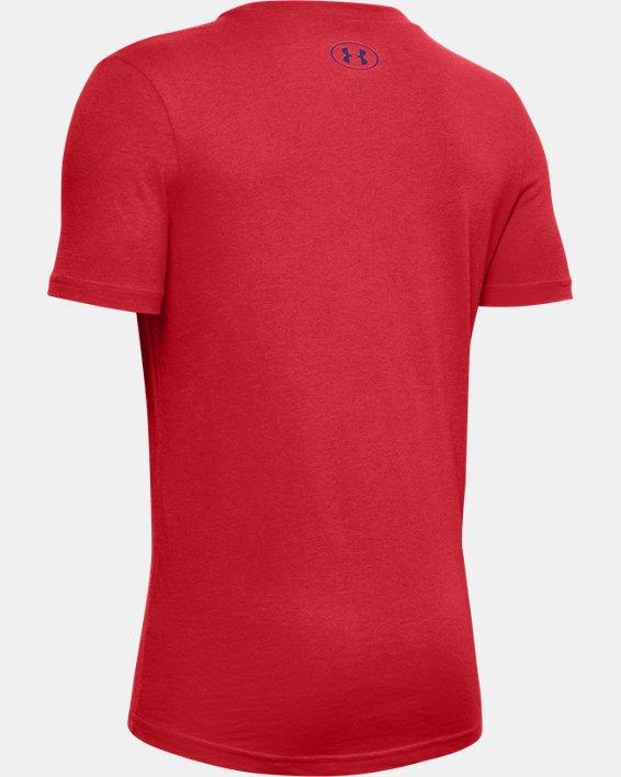 Boys' UA Football Stadium Logo Short Sleeve, Red, pdpMainDesktop image number 1