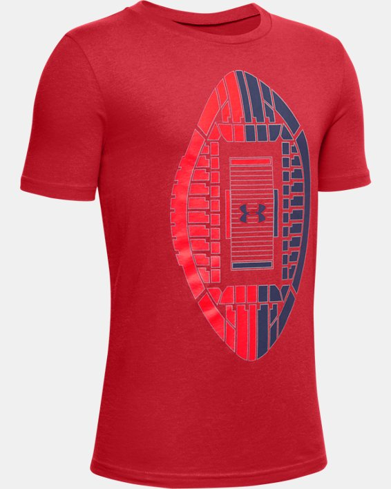 Boys' UA Football Stadium Logo Short Sleeve, Red, pdpMainDesktop image number 0