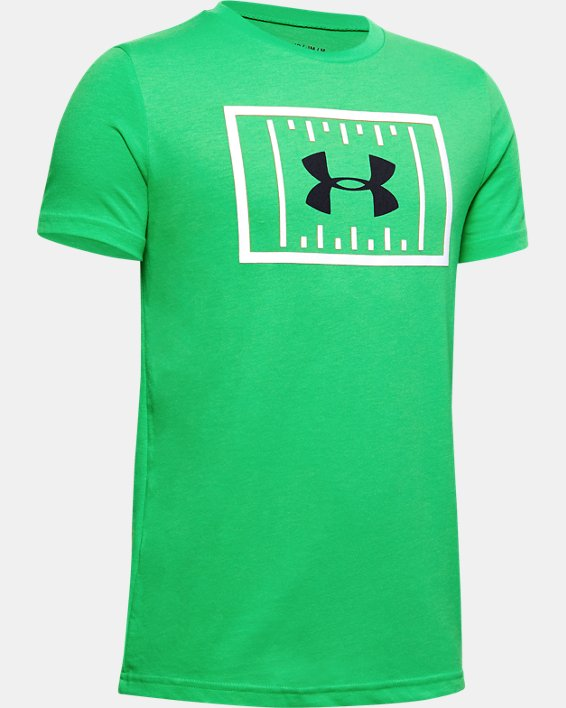 Boys' UA Football Field Short Sleeve, Green, pdpMainDesktop image number 0