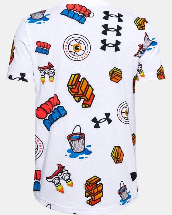 T-shirt UA Hoops Sticker pour garçon, White, pdpMainDesktop image number 1