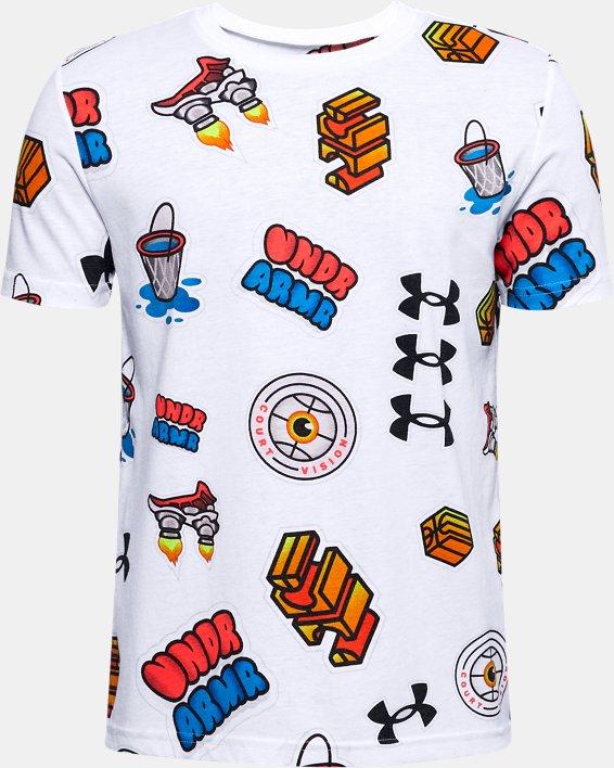 T-shirt UA Hoops Sticker pour garçon, White, pdpMainDesktop image number 0