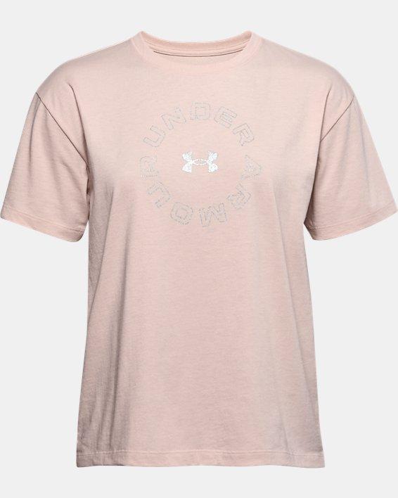 T-shirt à manches courtes UA Wordmark Graphic pour femme, Brown, pdpMainDesktop image number 3