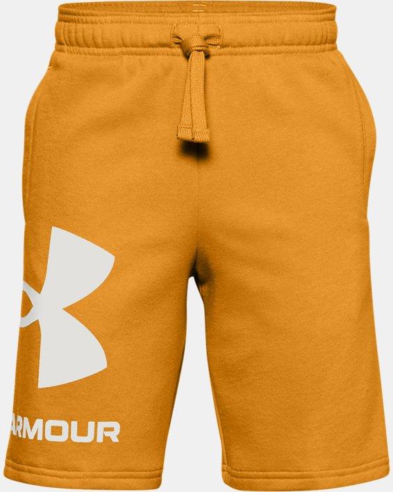 Boys' UA Rival Fleece Big Logo Shorts, Yellow, pdpMainDesktop image number 0