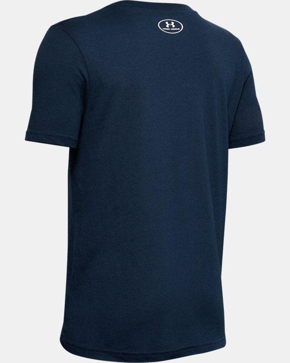 Boys' UA Big Logo Reflective T-Shirt, Navy, pdpMainDesktop image number 1