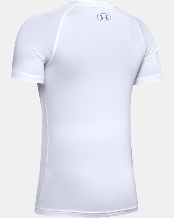 Boys' HeatGear® Armour Short Sleeve, White, pdpMainDesktop image number 1