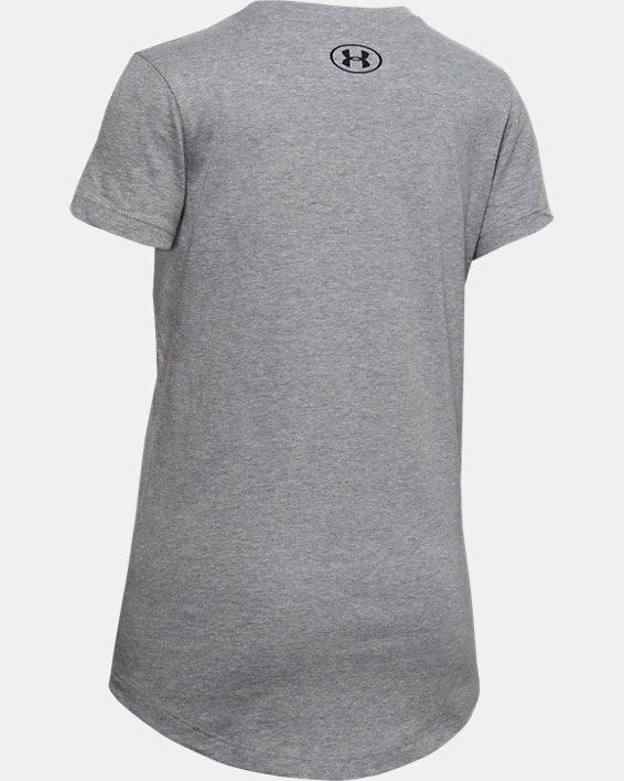 Girls' UA Split Foil Big Logo Short Sleeve, Gray, pdpMainDesktop image number 1