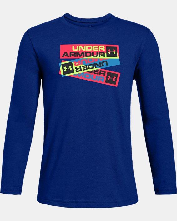 Boys' UA Neon Triple Long Sleeve, Blue, pdpMainDesktop image number 0